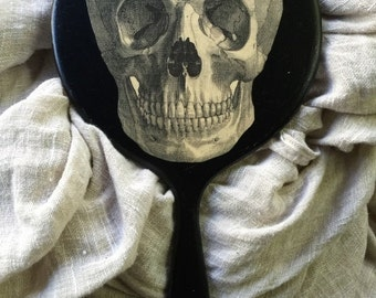 Giant Antique Black Skull Hand Mirror at Gothic Rose Antiques