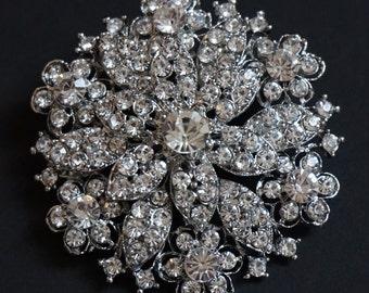 Crystal brooch, Dress brooch, bridal dress brooch, bag brooch, snowflake brooch, bridal jewellery brooch and pendant
