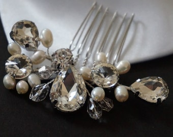 Hair Comb.  Crystal, Swarovski & Pearl Bridal Hair Comb