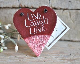 Live Laugh Love Salt Dough Heart Ornament