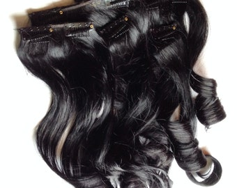 Glossy Jet Black 100% Remy Human Hair Clip in or Tape Hair Extension Set