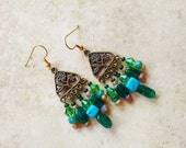 Green chandelier earrings, Bohemian gypsy hippie long gold green chandelier earrings with malachite and turquoise