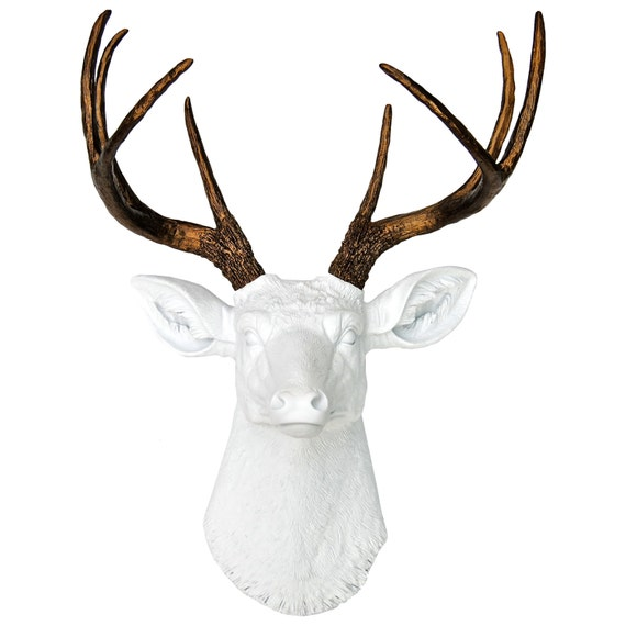 White and Bronze Faux Deer Head - Deer Head Antlers Fake Taxidermy Wall Decor D0109