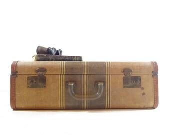 Vintage Tweed Striped Suitcase, Vintage Luggage