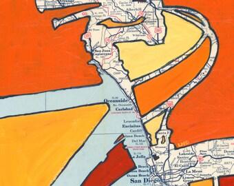 Bike San Diego -- featuring Coronado, La Mesa, Oceanside, Ocean Beach, La Jolla, California bicycle art print