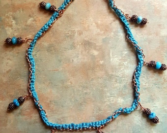 Lovely Copper Chain Necklace/Crochet/Crazy Lace Agate
