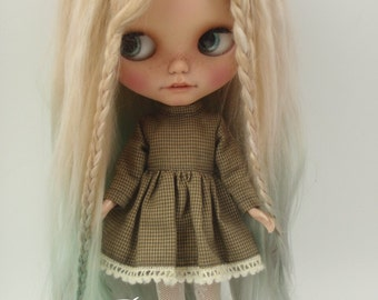 Ready to ship/Alpaca/Doll hair/ Suri Alpaca hair/ rerooting scalp/ for Blythe Doll in Omber blonde green 14-15  inches