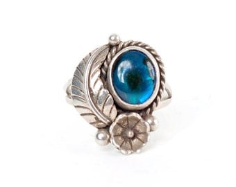 Native American Style Blue Resin and Sterling Silver Floral Ring