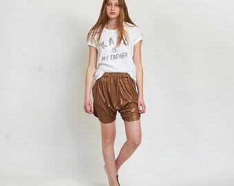 Metallic Drop Crotch Shorts, Bronze