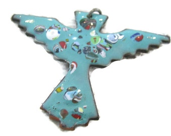 Big Copper and guilloche enameled turquoise blue thunderbird. pendant  1960s southwestern