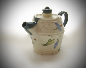 Tea Pot Bees Flowers Vines Blue White One of a Kind