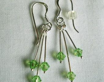 Green Beaded Sterling Silver Earrings