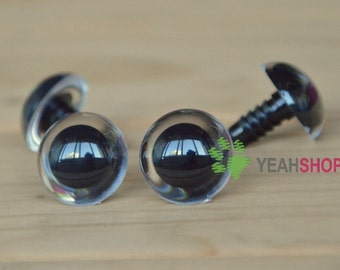 Clear Round Safety Eyes Plastic Doll Eyes Monster Eyes - 1 Pair - 30mm 35mm 40mm 45mm