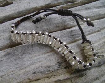 Waxed Cord Adjustable Silver Beaded Bracelet (9)