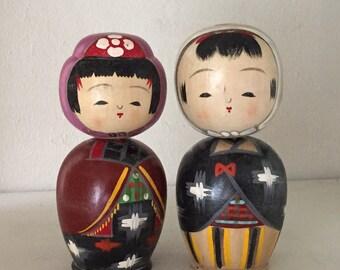 "SUMMER SALE!Vintage pair of omiyage Kokeshi ""tohoku"""