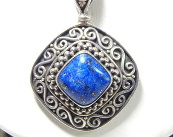 Brilliant Blue Indonesian Sterling Silver Pendant
