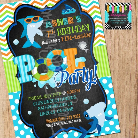 chalkboard shark invitation you print birthday pool party by