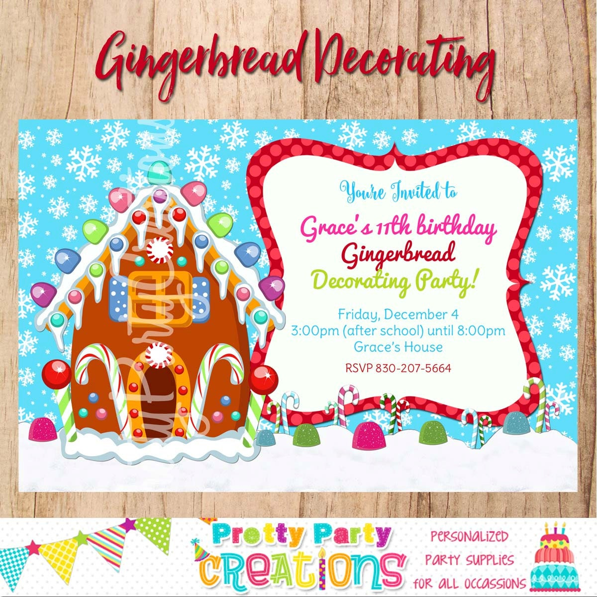 Gingerbread house invitation you print Gingerbread house decorating party invitations