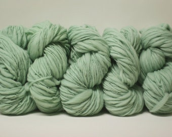 Yarn Thick and Thin Merino Bulky Hand Spun Wool Slub  Hand Dyed tts(tm) Cool Mint 000x