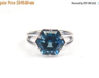 SALE Hexagon Gemstone Ring-Gemstone Engagement Ring Hexagonal-Hexagon Engagement Ring-Blue Topaz Ring Handmade-Large Gemstone Ring-Unique Ri
