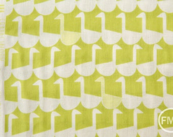 Framework Sitting Geese in Chartreuse, Ellen Baker for Kokka Fabrics, Double Gauze Cotton Fabric, JG-41800-802B