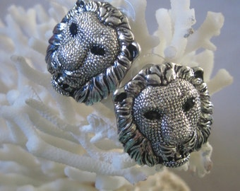 Antique Silver Beast of the Jungle Male Lion Head Earrings