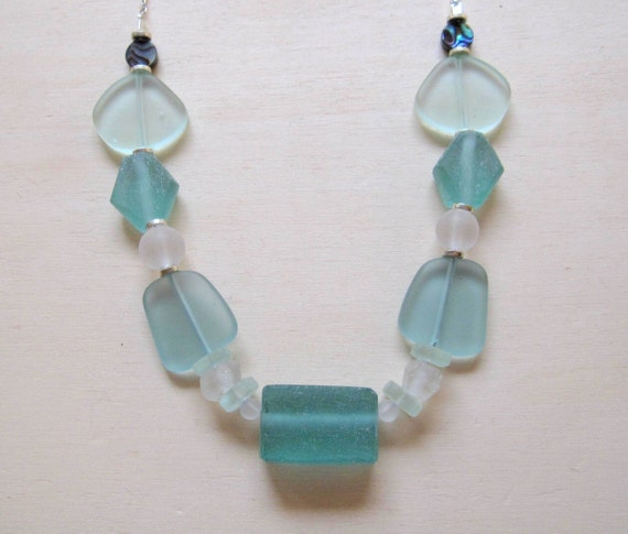 blue sea glass necklace by smithnjewels on etsy