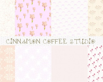 Pale Pink Digital Papers, Vintage Shabby Pink Texture, Dust Pink Backgrounds set of 8