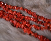 Red Coral Chip Beads- 5-15 mm- 36 inch Strand