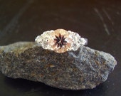 Genuine Morganite & White Topaz Ring - Alternative Engagement Ring - 925 Sterling Silver Ring