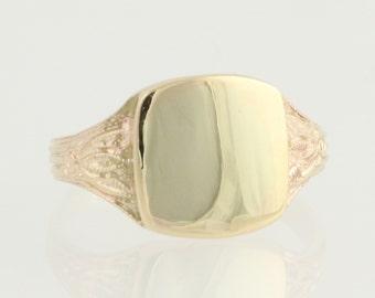 Engravable Signet Ring - 10k Yellow Gold Milgrain Women's L9987