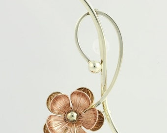 20% OFF Two-Tone Gold Flower Brooch - 10k Yellow & Rose Gold Nature F1453