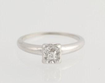 Vintage Diamond Engagement Ring - 14k White Gold Solitaire .04ct Unique Engagement Ring N1712