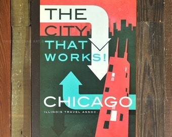 Chicago, Illinois - 12 x 18 Retro Travel Print