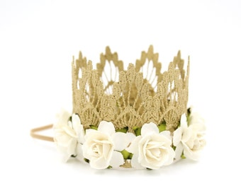 Ready to Ship || mini GOLD Sienna with ivory flowers || lace crown headband || photography prop