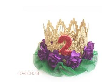 Little Mermaid inspired || Birthday || princess lace crown headband || customize || keepsake box included