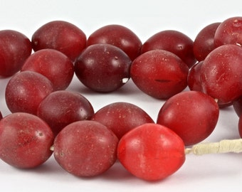 Red Large Pigeon Egg Beads, Ethiopia - Rita Okrent Collection (AT0622)