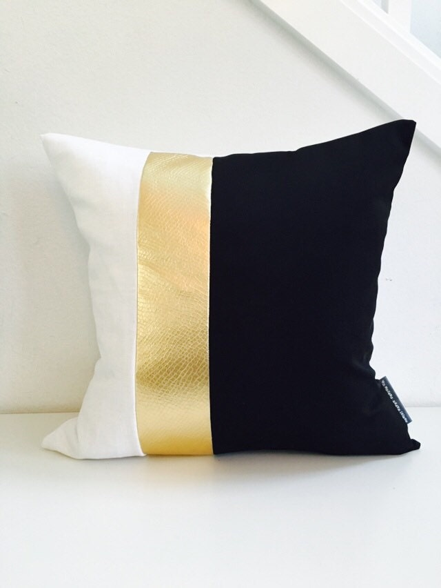 Black and White Pillow Cover 18x18 Cushion Color Block