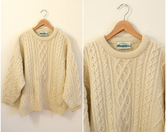 Vintage men's Irish wool pullover sweater / white cable knit jumper