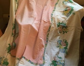Pretty in pink! Sweet vintage tablecloth in pastels so summery! Perfect for picnic!