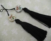 2 Luxe RLACK Silk TASSELS with charm jewelry making