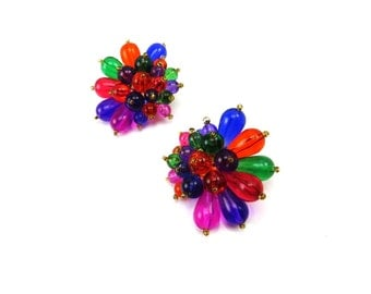 Lucite Plastic Statment Earrings Vintage Beaded Earrings HUGE Multi Color Rainbow Pink Purple Green 1960s Retro Costume Jewelry
