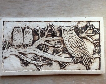 Porcelain Owl tile 5x9 inch for wall hanging or installation