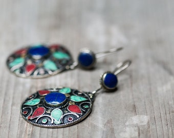 Vintage Bohemian Earrings, Tribal Jewelry, Large Earrings, Earrings, Tribal Earrings, Boho Jewelry, Christmas Gift For Her