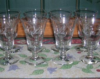 8 Vintage Crystal Glastonbury Lotus Cut No.46 Regal Pattern Wine Glasses Twist Stem Extremely RARE Find