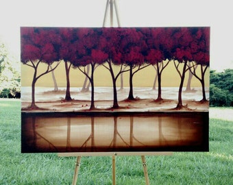 Tree Painting, Red Painting,Abstract Painting,Red Tree, Original Painting on Canvas, Landscape Painting,  36x24 Heather Day #2