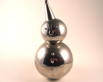 Silver Toned Clown Bank Round Cute