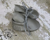 WOW! NEW Grey Tie Ups  100% genuine leather baby moccasins Mocs moccs top quality, first birthday,