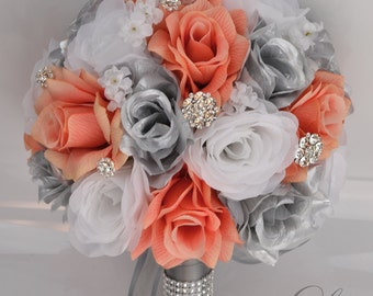 """17 Piece Package Silk Flowers Wedding Bridal Bouquet Party Bride Artificial Bouquets Decoration CORAL SILVER WHITE """"Lily of Angeles"""" COSI01"""