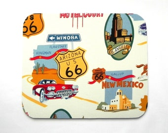 Mouse Pad - Route 66 Fabric mousepad - Home office / computer